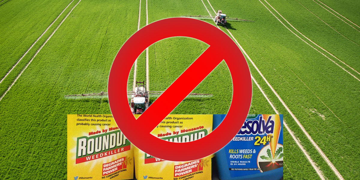 Roundup, Tractor Pesticide Spraying, Stop Sign