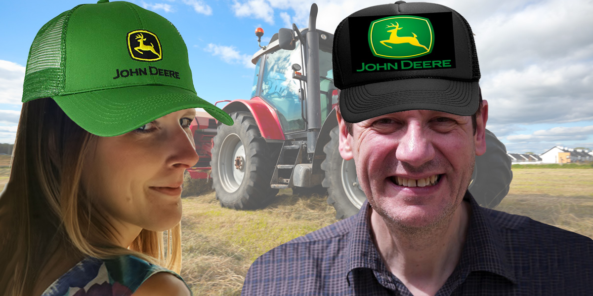 Claire and Jonathan with John Deere hats