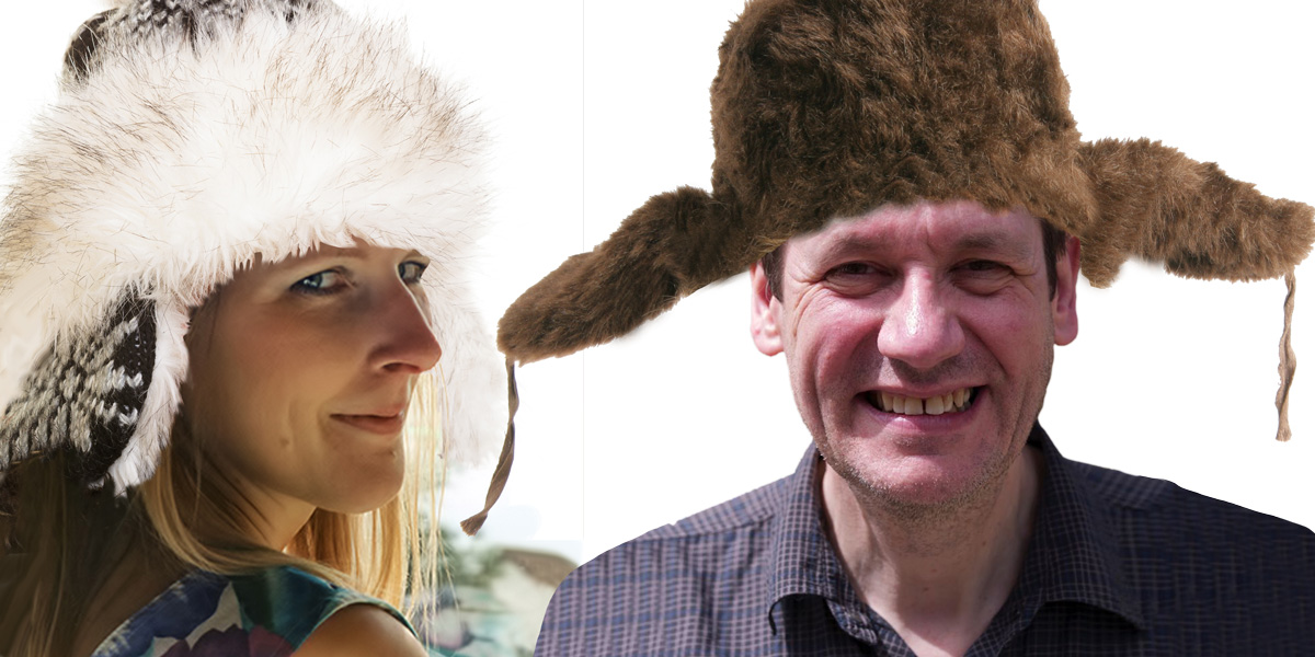 Claire Robinson and Jonathan Matthews with Russian hats