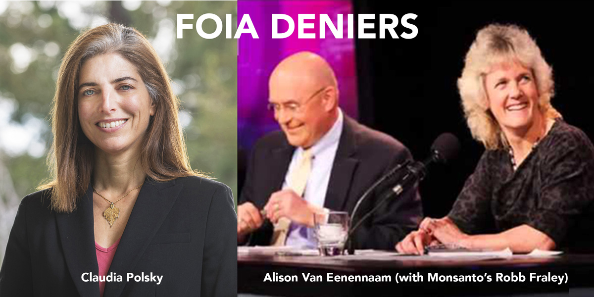 Claudia Polsky, Monsanto's Robb Fraley and Alison Van Eenennaam
