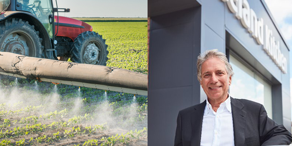 Crop spraying pesticides from tractor and Malcolm Walker