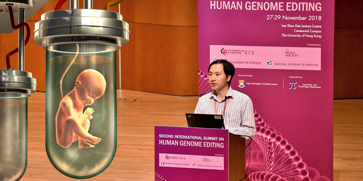 He Jiankui at Second International Summit on Human Genome Editing plus artificial life