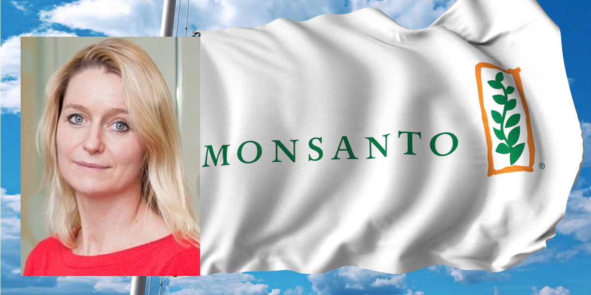 Kate Kelland of Reuters and Monsanto Flag