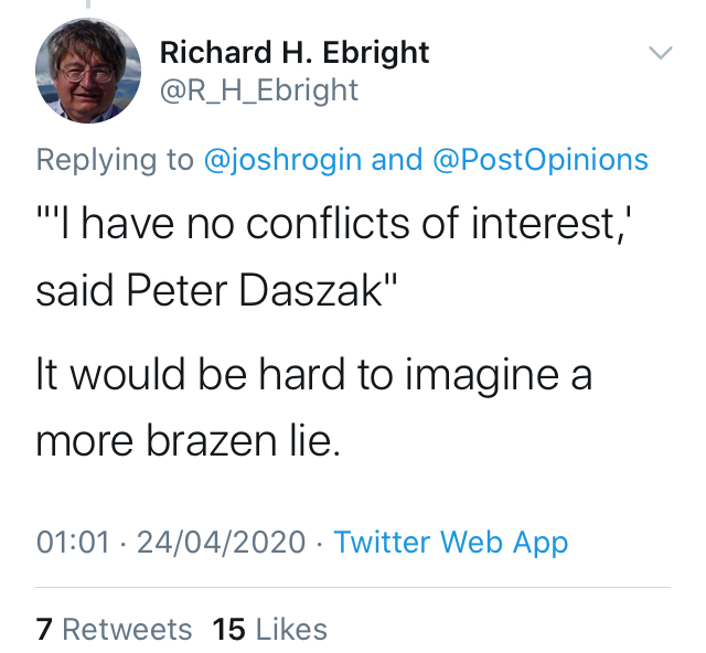 Daszak Tweet no conflicts