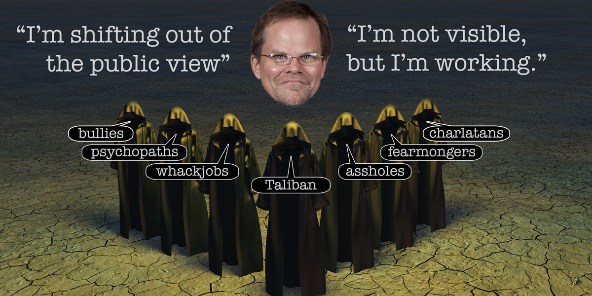 Pro-GMO scientist Kevin Folta working in the shadows