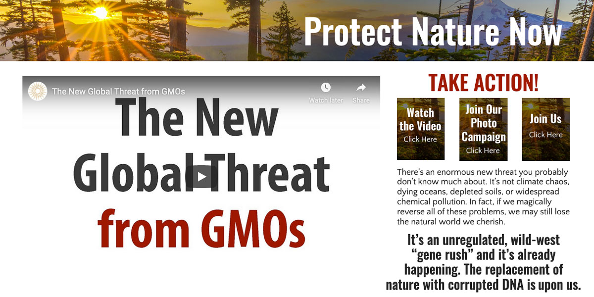 Protect Nature Now campaign about threats of gene editing