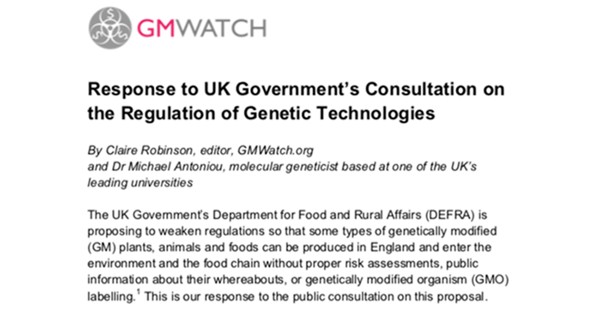 Response to UK Government consultation on Genetic Technologies