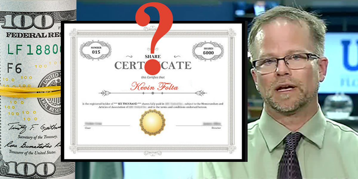 Dollars, share certificate and Kevin Folta