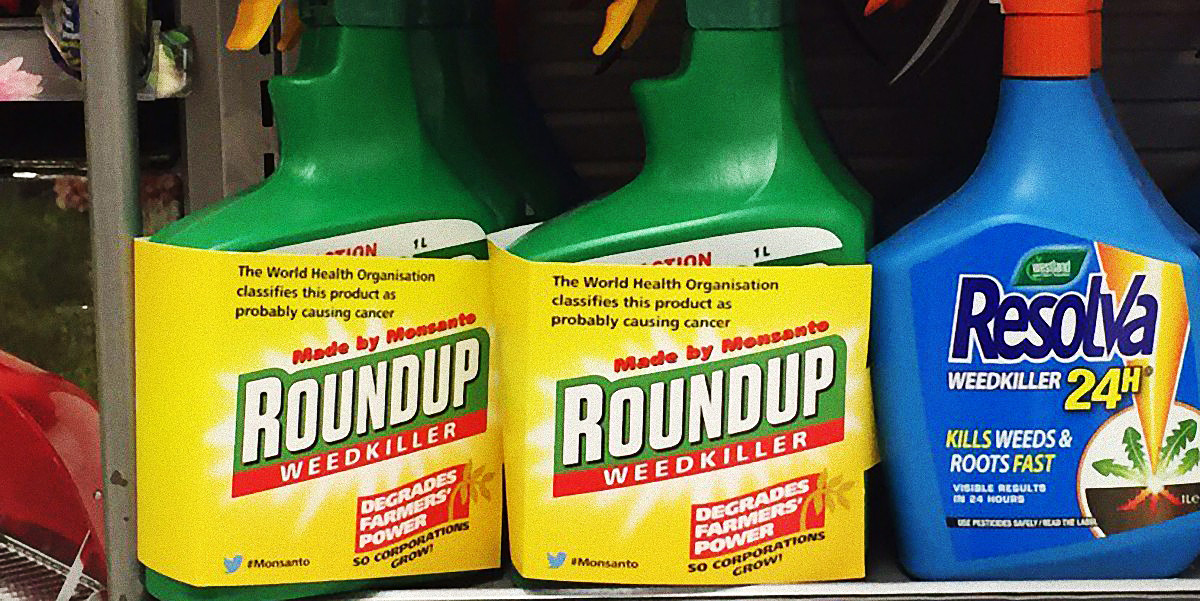 Roundup pesticide in shelf