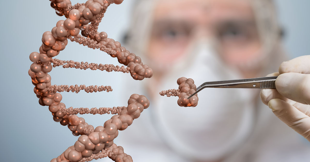 Scientist is replacing part of a DNA molecule