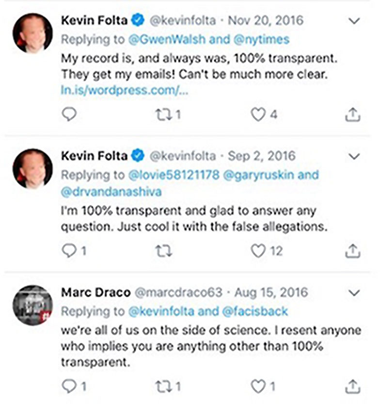 Folta transparency tweets