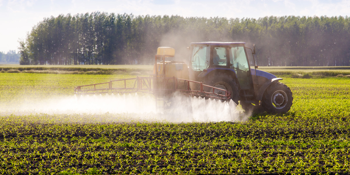 spraying glyphosate from a tractor